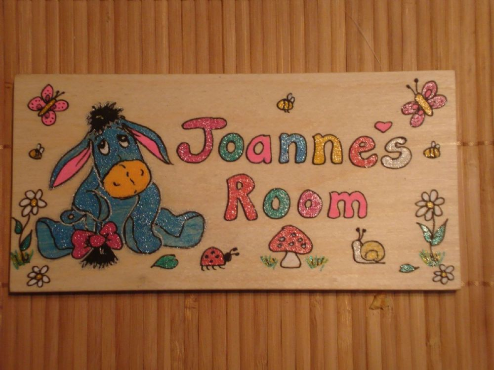 Eeyore Handmade Wooden Personalised Childrens Bedroom Door